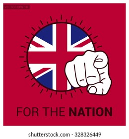 UK country flag in Circle and pointing finger at viewer typography Ready for the Nation. Vector Illustration