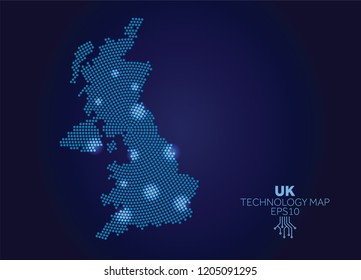 UK dotted technology map. Modern data communication concept