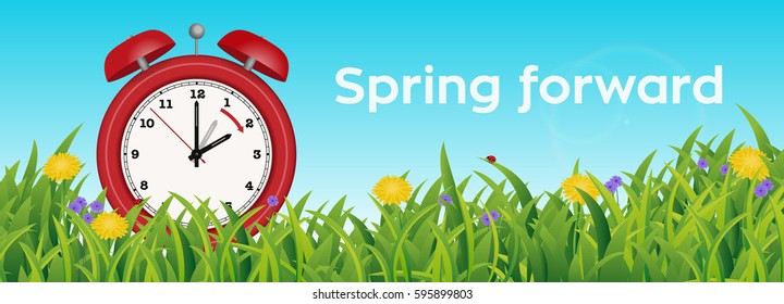 UK edition: Daylight Saving Time Reminder, Cute little red Clock in Spring Summer Grass Scene, from two to three o'clock
