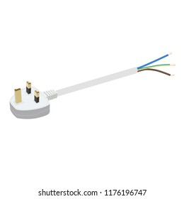 UK electric plug with flexible three-wire electrical cable isolated on white background. Vector illustration
