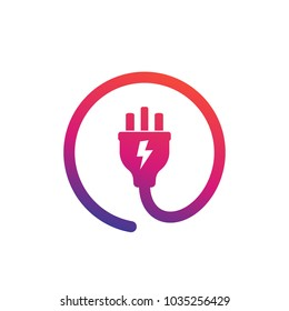 uk electric plug icon, vector logo