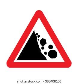 UK Falling Rocks or Debris Road Sign