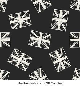 UK flag doodle seamless pattern background