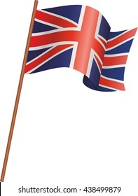 UK flag flutters in the wind. Vector isolated on white background.