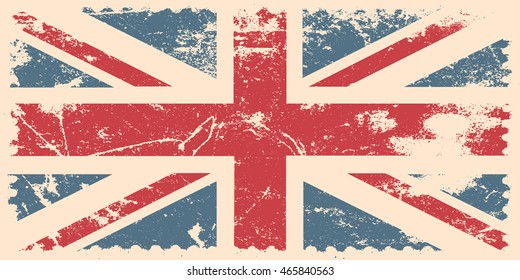 UK flag in grunge style. Vector illustration.