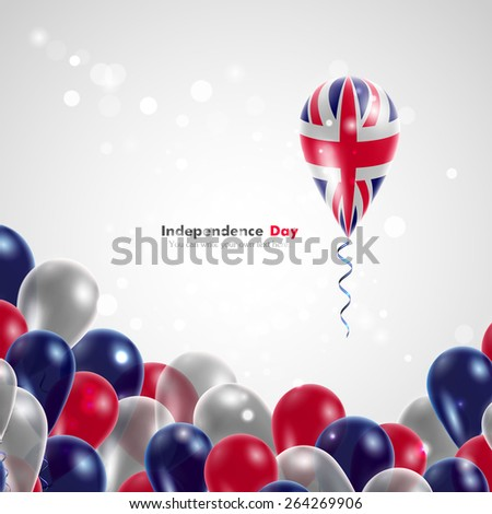 UK flag on balloon. Celebration and gifts. Balloons on the feast of the national