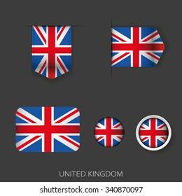 UK flag ribbon vector set