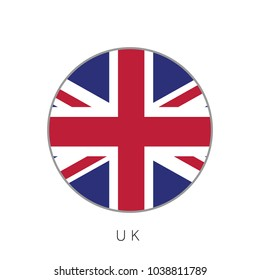 UK flag round circle vector icon
