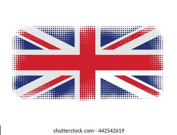 UK flag symbol halftone vector background illustration
