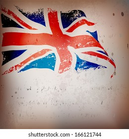 UK, Great Britain flag grunge old textured background.   EPS10