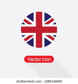 UK Of Great Britain Flag Icon Vector Illustration In Flat Style Eps10