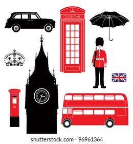 UK - London symbol  -  icons - silhouette - stencil -  vector illustration