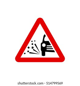 UK loose chippings warning sign.