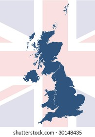 UK map with British flag in background
