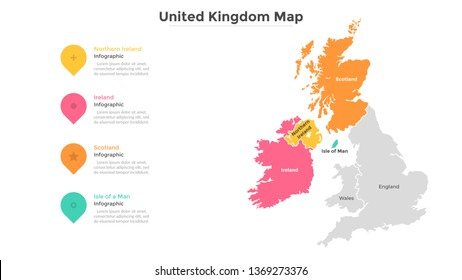 UK map divided into provinces or regions with modern borders. Geographic location indication. Infographic design template. Vector illustration for presentation, brochure, touristic website.