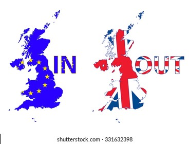 UK Map. UK and EU flags. UK leaving EU with the Brexit