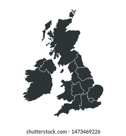 UK Map Flat Design Icon Vector