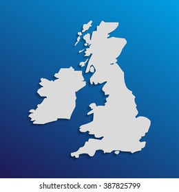 UK  map in gray with shadows and gradients on a blue background