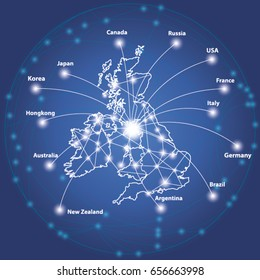 UK map with node link by line with other country in the world. communication or trade or business concept image vector illustrations