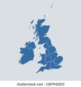 UK map on gray background vector, UK Map Outline Shape Blue on White Vector Illustration, High detailed Gray illustration map UK. Symbol for your web site design map logo. app, ui, eps10.