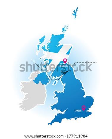Uk Map Show Scotland England Divide Stock Vector Royalty Free