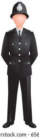 UK policeman, London, traditional English bobby in helmet and black uniform. Vector image