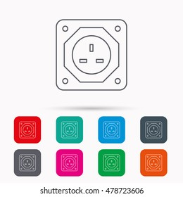 UK socket icon. Electricity power adapter sign. Linear icons in squares on white background. Flat web symbols. Vector