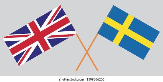 UK and Sweden. British and Swedish flags. Official colors. Correct proportion. Vector illustration