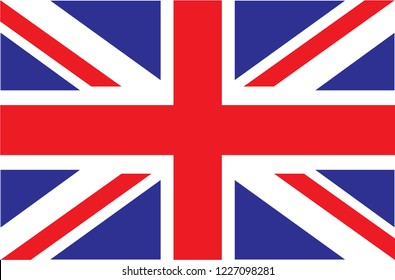 UK. Union Jack. Flag of United Kingdom. Official colors. Correct proportion. Vector illustration. The British flag is flying in the wind. Colorful, national flag of Great Britain. Patriotism.