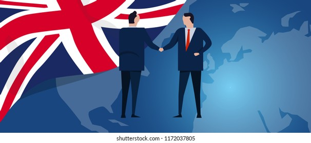 UK United Kingdom English England international partnership. Diplomacy negotiation. Business relationship agreement handshake. Country flag and map. Corporate Global business investment. Vector