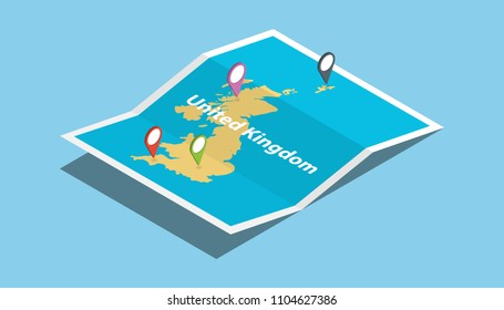 uk united kingdom explore maps country nation with isometric style and pin location tag on top vector illustration