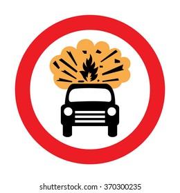 UK Vehicles Carrying Explosives Prohibited Sign