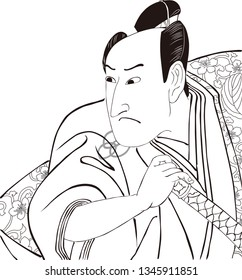 Ukiyoe Kabuki actor part 3 black and white