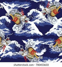 Ukiyoe print wave