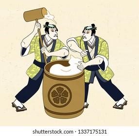 Ukiyo-e style man pounding mochi with big wood mallet
