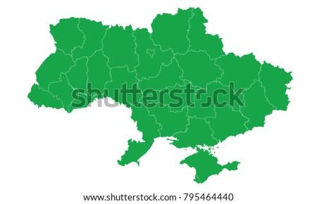 Ukrain Map Green Color Stock Vector (Royalty Free) 795464440 ...