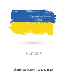 Ukraine colorful brush strokes painted national country flag icon. Painted texture.
