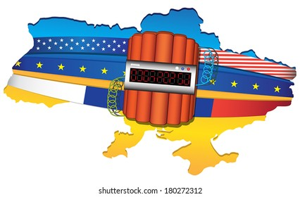 Ukraine conflict: map wrapped by USA, European Unit and Russian flags. Big explosive with timer. Vector illustration isolated on white background.