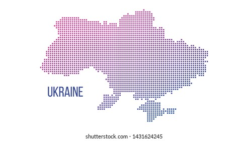 Ukraine country map made from abstract halftone square dot pattern, Vector illustration isolated on white background