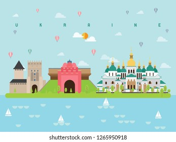Ukraine Famous Landmarks Infographic Templates for Traveling Minimal Style and Icon, Symbol Set Vector Illustration Can be use for Poster Travel book, Postcard, Billboard.