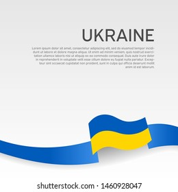Ukraine flag background. Wavy ribbon colors of Ukraine flag on white background. National poster. Vector design. State ukrainian patriotic cover, flyer