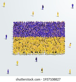 Ukraine Flag. A large group of people form to create the shape of the Ukraine flag. Vector Illustration.