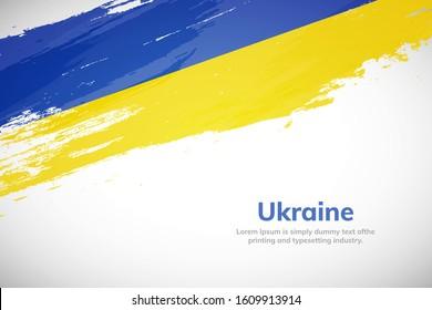 Ukraine flag made in brush stroke background. National day of Ukraine. Creative Ukraine national country flag icon. Abstract painted grunge style brush flag background.