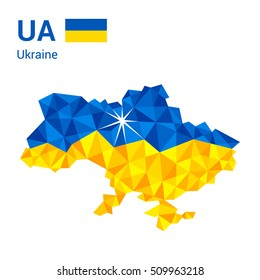 Ukraine flag map in polygonal geometric style. Vector illustration of Ukraine, UA map in geometric polygonal style, with the capital Kyiv, Kiev marked with a star.