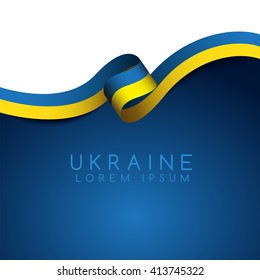 Ukraine Flag Ribbon : Vector Illustration