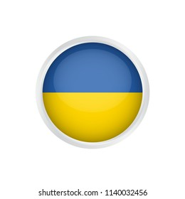 Ukraine flag as round glossy icon. Button with Ukraine flag. National flag for country of Ukraine isolated, Vector illustration eps10.
