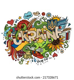 Ukraine hand lettering and doodles elements background. Vector illustration