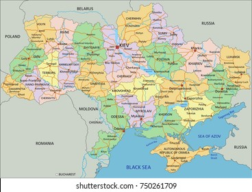 Ukraine - Highly detailed editable political map with labeling.