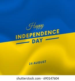 Ukraine Independence Day. 24 august. Waving flag. Vector illustration.