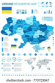 Ukraine infographic map and flag - High Detailed Vector Illustration